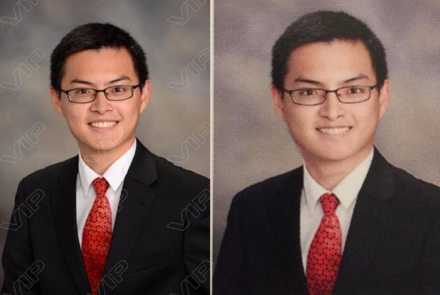 Many have expressed frustration at the stark differences between the unmodified senior portraits (left) and the edited yearbook photos (right). The student pictured above is Joey Hong, whose photo was the cause for an online petition against student photoshopping.