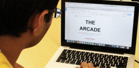 "An online AP Government student works on an online worksheet called ""The Arcade"" on his own personal time. Students are expected to keep up and complete their online course work every day."