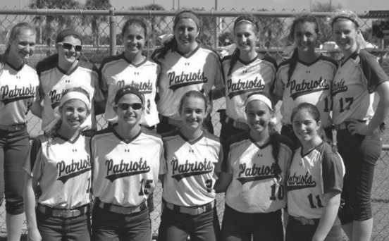 Stevensons 2015-16 varsity softball team stands together after a game. The season kicks off on March 22nd.