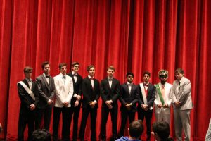 The ten contestants for Mr.SHS pose together following the competition.  The contestants competed in multiple categories, ranging from a swimsuit competition to a Q&A.
