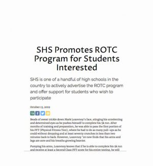 SHS Promotes ROTC Program for Students Interested