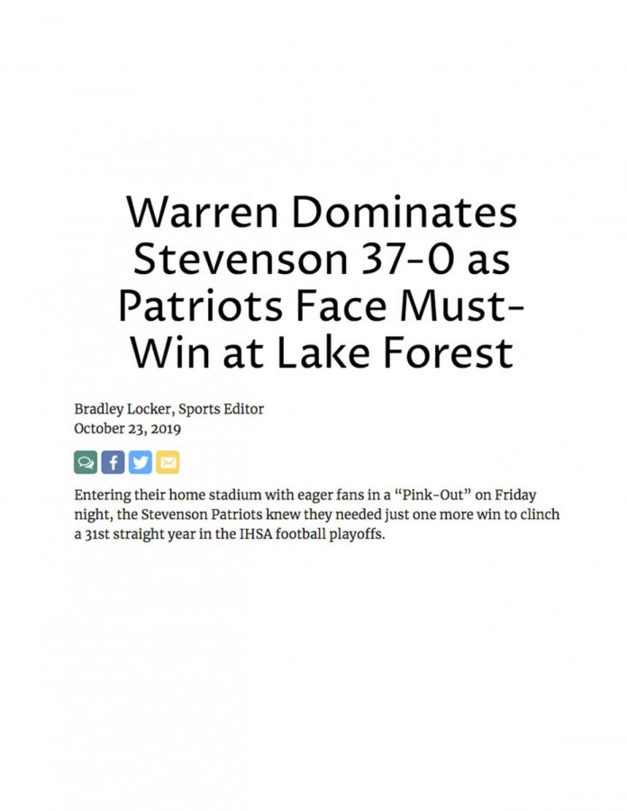 Warren Dominates Stevenson 37-0 as Patriots Face Must-Win at Lake Forest