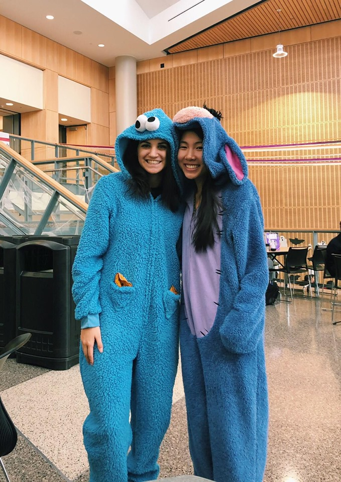 Gabi and Tessa smile for the camera with their cozy costumes!