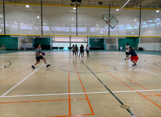 Students play an engaging game of dodgeball.  Eight teams signed up to play on the October 19 tournament.