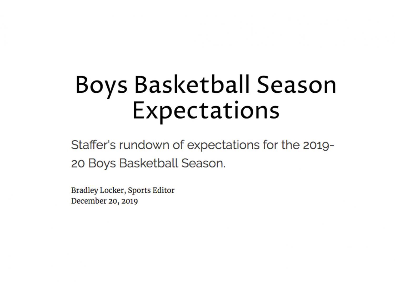 Boys Basketball Season Expectations