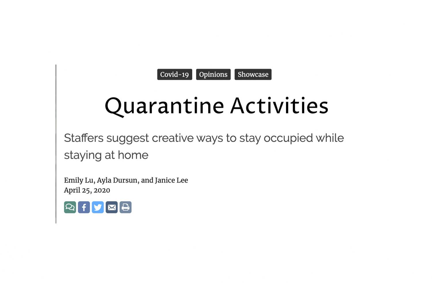 Quarantine Activities