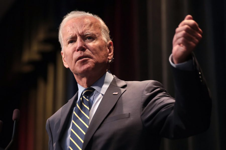 Joe Biden speaking with attendees at the 2019 Iowa  Federation of Labor Convention. Image from Flickr.